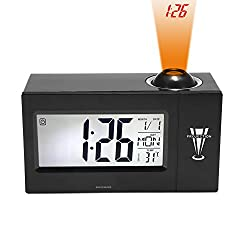 Digital Clock, Binwo Bedside Time Projection Alarm Clock with 4 BIG LED Display for Day / Date / Temperature / Humidity, Loud Alarm Clock with Smart Back Light