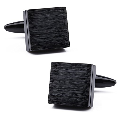 Square Cufflinks Italian - Trendy Square Three Color Plain Metal Man Shirt Wedding Business Cufflinks Gift for Friends (Black)