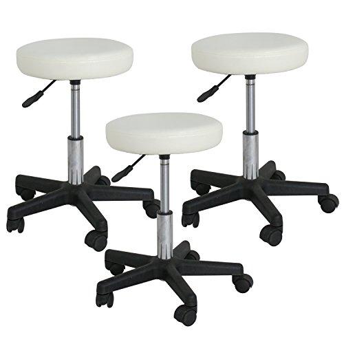 Adjustable Hydraulic Rolling Swivel Salon Stool Chair Tattoo Massage Facial Spa Stool Chair White (PU Leather Cushion) 3PCS by Nova Microdermabrasion