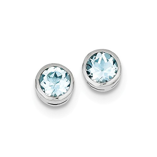 Best Designer Jewelry Sterling Silver Rhodium-plated Blue Topaz Circle Stud Earrings