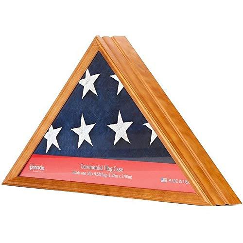 Pinnacle Frames & Accents Wood Flag Display Case Box, 16'' x 22.5'', Light Honey