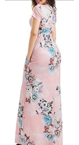 Jaycargogo Femmes Imprimé Floral Casual Col Arrondi Robes Maxi Manches Courtes 1