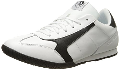 Diesel Men's Claw Action S-Actwings Leather Fashion Sneaker, White/Black, 7 M US