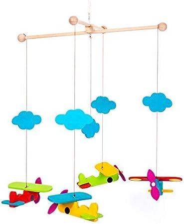 Ingodi - Cuna móvil de madera para bebé, juego de actividades en el gimnasio, hecho a mano, diseño de cielo y avión para colgar en la pared, regalo para baby shower