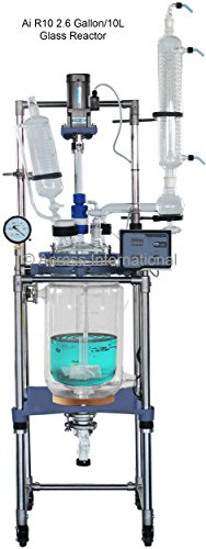 Ai 10L Dual Jacketed Glass Reactors w/ All PTFE Valves 110V 60Hz 90 Watts