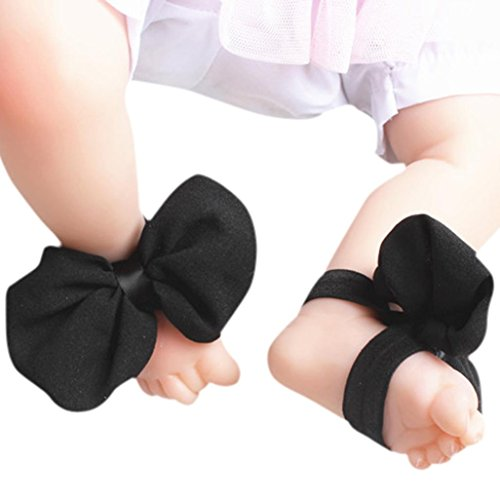 DZT1968 1 Pair Baby Girl Large Bowknot Foot Flower Shoes Barefoot Sandals (Black) (Barefoot Sock Sandals Baby)