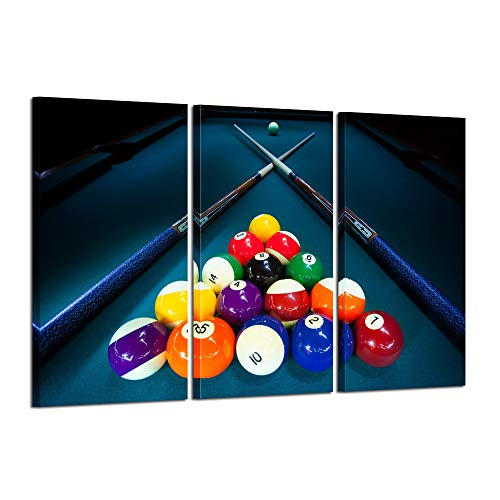 Kreative Arts Large 3 Pieces Canvas Prints Cool Billiards Ball Pool Snooker Printed Painting Canvas Wall Art Picture Home Décor for Bar Art Stretched and Framed Ready to Hang 16x32inchx3pcs