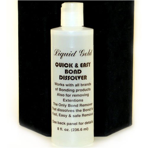 Liquid Gold Brush-on Bonding Adhesive for Cold Fusion Hair Extensions and Braids - Bonding Remover Solvent - 8oz