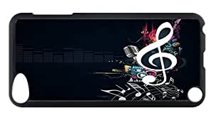 iPod Touch 5 Case, Vector Art Music Rugged Case for iPod Touch 5/ /iPod 5/ iPod 5th Generation PC Materia Plastic Case Black