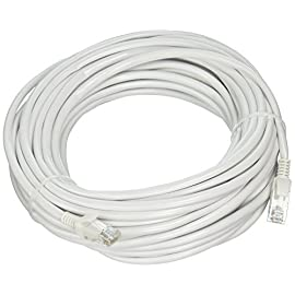 10 Pack Cat5e White Ethernet Patch Cable, Snagless Molded Boot, 1 Foot, CNE531915 1 High Performance RJ45 Ethernet Patch Cable provides universal connectivity for LAN network components such as PCs, computer servers, printers, routers, switch boxes, network media players, NAS, VoIP phones, PoE devices, and more Future-proof your network for 10-Gigabit Ethernet (backwards compatible with any existing Fast Ethernet and Gigabit Ethernet); Meets or exceeds performance in compliance with the TIA/EIA 568-C.2 standard The connectors with gold-plated contacts, molded strain-relief boots, and snagless molds resist corrosion, provide durability, and ensure a secure connection; Bare copper conductors enhance cable performance and comply with UL 444 specifications for communications cables