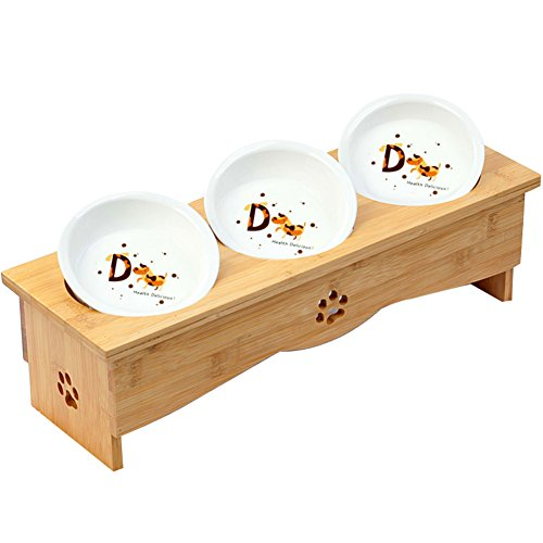 Cheap Creation Core Solid Bamboo Elevated Pet Dinner Feeder for Small Dogs and Cats Raised Stand with Three Ceramic Bowls