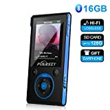 16GB MP3 Player with Bluetooth,HiFi Bluetooth MP3 Player 50 Hours Playback Portable Music Player Lossless Sound Media Player by Puersit(Black+Blue)