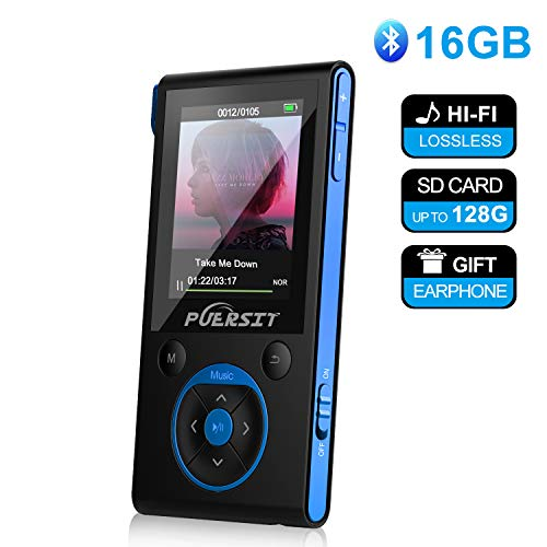 MP3 Player, 16GB MP3 Player with Bluetooth 4.0, 50 Hours Playback Portable HiFi Lossless Sound MP3 Music Player with Pedometer FM Radio E-Book Voice Recorder, Support up to 128GB (Earphone Included)