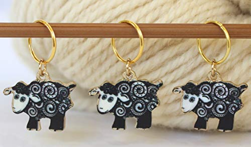 Set of 3 Yarn Ball Sheep Stitch Markers for Knitting Knit Pattern Reminder Stitchmarker Ring Notion Helper Knitter Gift