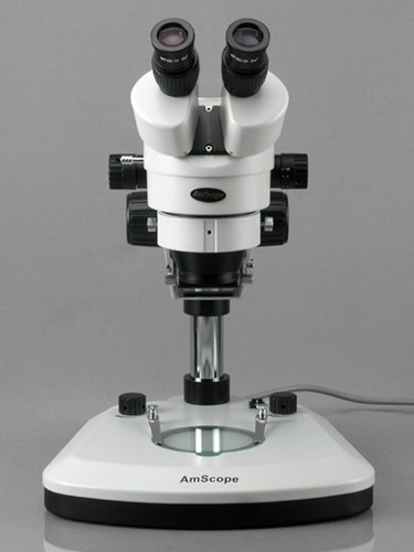 AmScope SM-1B-PL Professional Binocular Stereo Zoom Microscope, WH10x Eyepieces, 7X-45X Magnification, 0.7X-4.5X Zoom Objective, Upper and Lower LED Light, Pillar Stand, 110V-120V by AmScope (Image #1)