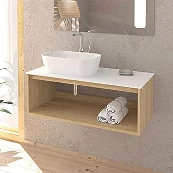 Sanycces Meuble Salle De Bain Design Suspendu Uno Wood Pour