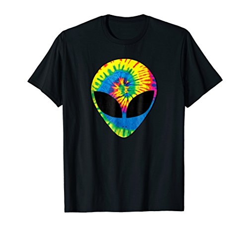 Neon Bright Rainbow Tie Dye Alien Head Cool Tye Die T-Shirt ()
