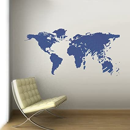 46ab133c8a Amazon.com: Full Color Wall Decal Mural Sticker Decor Art World Map Lines  Countries Paintings (Col719): Home & Kitchen