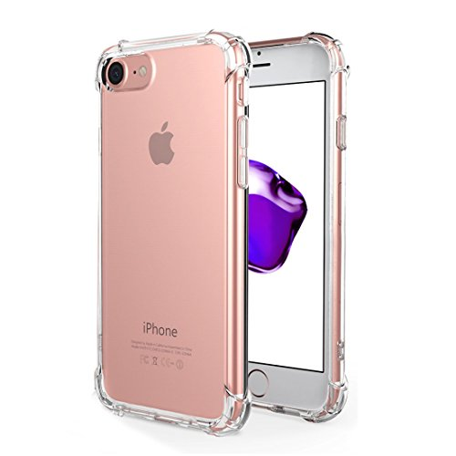 - iPhone 8 7 Case, GLASS-M Transparent Clear Protective Kit Bundled, Soft TPU Cover Case, Air Cushion, with HD Tempered Glass Screen Protector