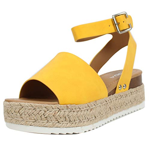 SODA Women's Open Toe Halter Ankle Strap Espadrille Sandal, Yellow, 11 M US