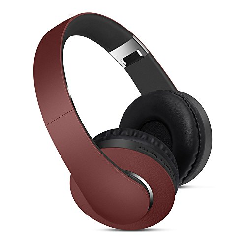 Premium Over-Ear Headphones- Foldable Headset with Active Noise Cancelling/Stereo Deep Bass Sound- for TV, Smartphones and All Electronic Devices- On-Ear with Mic/Wireless with Micro SD Slot (Wine)