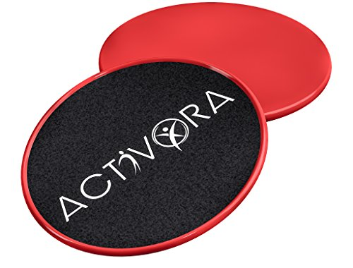 Exercise Sliders – One Pair of Red Gliding Discs Core Sliders for...