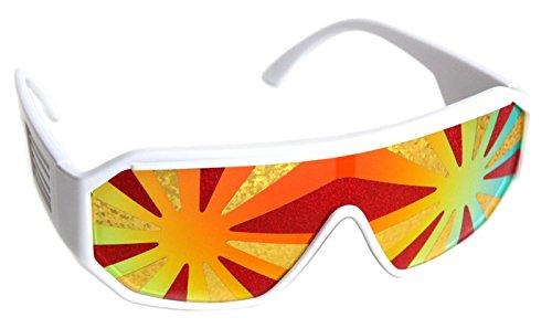 Rasslor Lava White Frame Orange Lens Shield 140mm - Lenses Sunglasses Holographic
