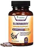 Elderberry Capsules Highest Potency Flu & Cold Relief 1200mg - Immune Support Black Sambucus Nigra Extract Pills - Made is USA - Best Vegan Adults Antioxidant Powder Supplement - 60 Capsules