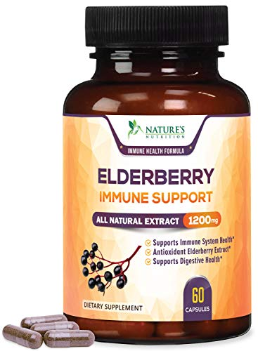 Elderberry Capsules Extra Strength Immune Support 1200mg - Cold Relief, Max Potency Black Elderberry Extract, Sambucus Nigra Antioxidant Supplement Pills by Nature's Nutrition - 60 Veggie Capsules ()