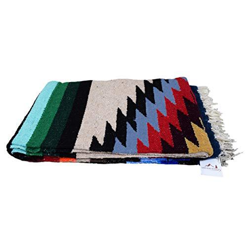 Open Road Goods Mexican Yoga Blanket, Navajo Aztec Diamond XL Thick Serape with - Blanket Navajo