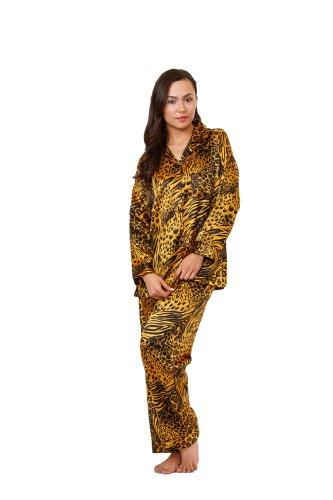 Up2date Fashion Women's Animal Print Pajama Set, 5 Prints in Classic Style, Style#PJ-12 (M, Gold & Black Animal)