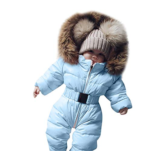Yezijin Winter Infant Baby Boy Girl Romper Jacket Hooded Jumpsuit Warm Thick Coat Outfit for 0-24 Months (60(Age: 0-3 Monthes), Sky Blue) -