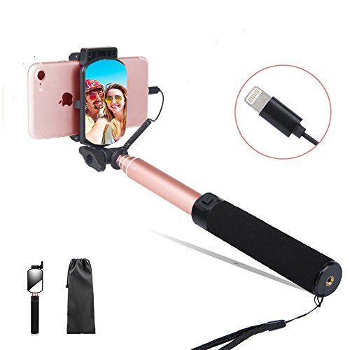 Lepamor Wired Selfie Stick with Mirror for Rear Camera No Battery Charging Portable for iPhone X, iPhone 8, iPhone 8 Plus, iPhone 7, iPhone 7 Plus, iPhone 6s, iPhone 6s Plus, iPhone 6, iPhone 6 Plus
