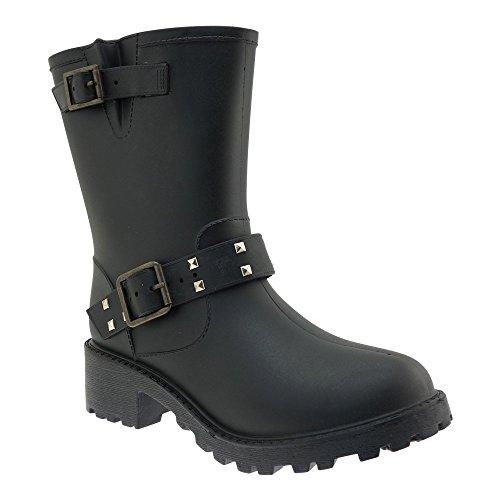 schwarz mit Nieten Regenstiefel Gr.39