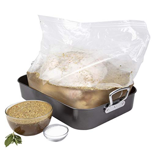 Turkey Brine XL Complete Kit for up to 25 LBS - Includes Double-Sealed Gusseted Brining Bag, Spice Packet, Instructional Guide - Made in the USA