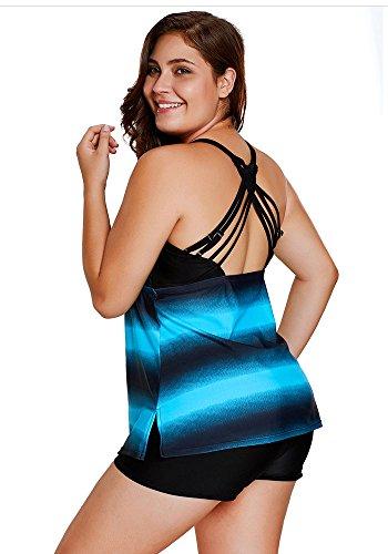 Agreya Women Two Pieces Swimwear Tankini Top with Triangle Bikini Swimsuits (Blue Shadow, L)