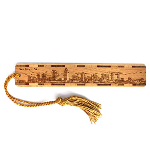 San Diego California Skyline Engraved Wooden Bookmark with Tassel - Also Available Personalized