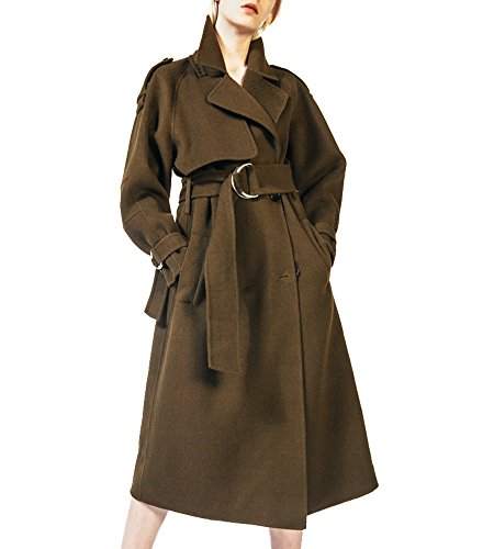 Hego Women's Autumn Winter Army Green Double-Breasted Slim Long Wool Coats H2944 (M, (Slim Wool Jacket Coat)