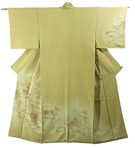 リサイクル 着物 訪問着 正絹 袷 金閣寺と平安貴族 裄65cm 身丈158cm