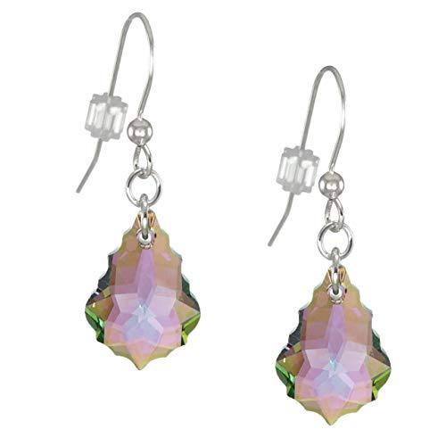 Swarovski Crystal Baroque Purple Aurora Borealis Sterling Silver Earrings
