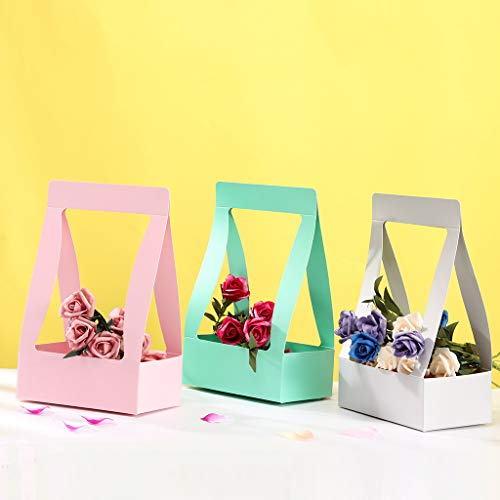 (YunZyun Paper Flower Basket Handmade Flower Basket Insert Bouquet Gift Box Waterproof 5PC Hard Paper Flower Basket for Gift and Home Decor (Tiffany Blue) )