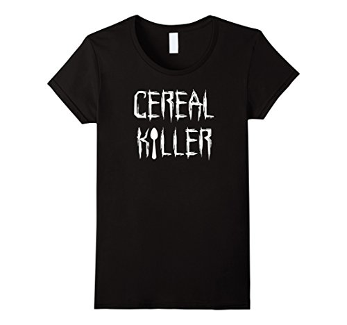[Women's Cereal Killer Funny Spoon Serial Halloween Costume Tee Shirt XL Black] (Cute Diy Womens Halloween Costume)
