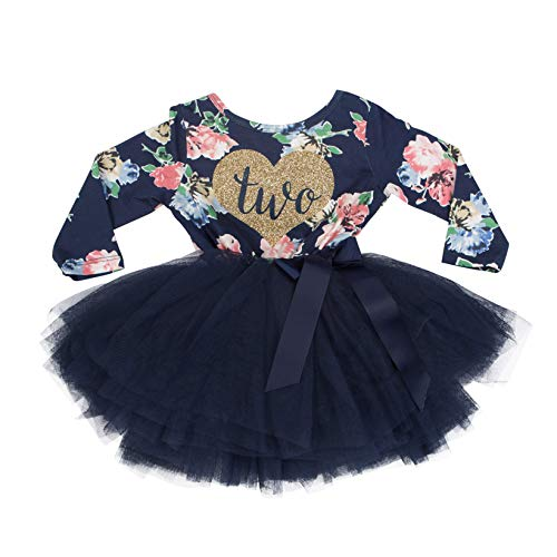 Grace & Lucille Navy Floral Long Sleeve Toddler Birthday Dress (Flat Heart Gold, 2T) ()