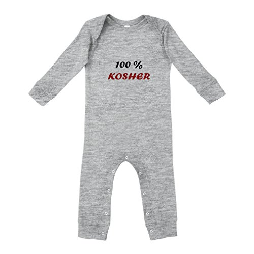 Kosher Ribs - Cute Rascals 100% Kosher Cotton Long Sleeve Envelope Neck Unisex Baby Legged Long Rib Coverall Bodysuit - Oxford Gray, 24 Months