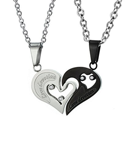 His & Hers Matching Set Titanium Couple Pendant Necklace Korean Love Style in a Gift Box (ONE ()