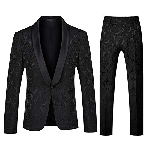 YFFUSHI Men's 1 Button 2 Piece White Tuxedo Shawl Collar Skinny Dress