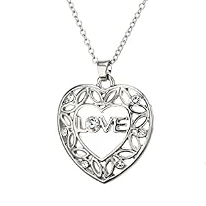 Bling Stars Filigree Cubic Zirconia Love Heart Pendant Necklace