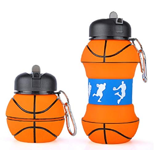 Collapsible Water Bottle 550ml Bpa Free Food Grade Silicone Foldable Sports Travel Water bottle Dishwasher Safe Light Weight Leak Proof Basketball Water Travel Bottle With Clip Reusable Water Bottle ()