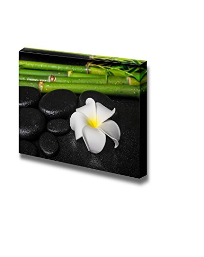 Zen Stones with a Blooming Petunia and Fresh Bamboos Wall Decor ation