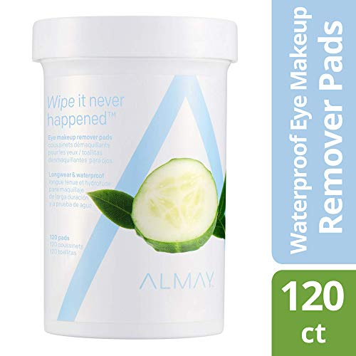 (Almay Longwear & Waterproof Eye Makeup Remover Pads, Hypoallergenic, Free from Fragrance, 120 Pads)